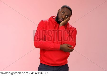 Annoyed Bored Funny Attractive African American Guy In Red Hoodie Roll Eyelids Facepalm Head Lean Ha