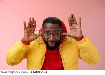 Ha Cannot Hear You Sorry. Portrait Ignorant Funny Careless Unbothered Young African Guy Pretending D