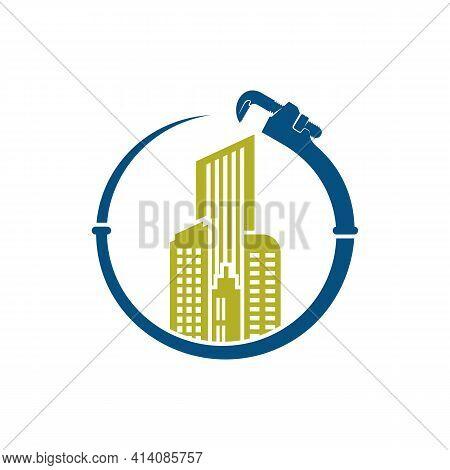 Building Plumbing Logo Design Vector Illustration, Creative Plumbing Logo Design Concept Template, S