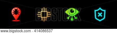Set System Bug, Processor With Microcircuits Cpu, Eye Scan And Shield Cross Mark Icon. Vector