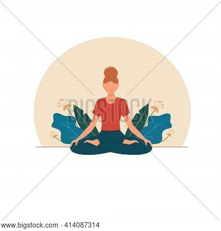 Woman Meditating, Practicing Yoga Around Leaves, Enjoying Meditation. Illustration For Yoga, Meditat