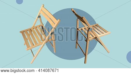 Festival Wooden Folding Chairs Isolated On Abstract Colorful Background. Event Meeting Organization.