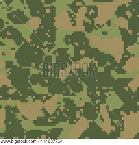 Digital Camo Background. Seamless Camouflage Pattern. Military Texture. Dark Green Khaki, Brown Fore