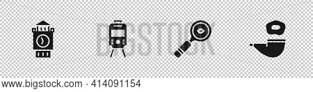 Set Big Ben Tower, Tram And Railway, Magnifying Glass And Smoking Pipe Icon. Vector