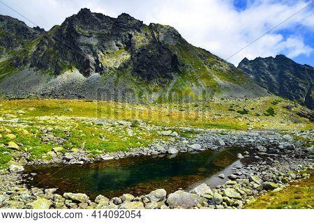 Landscape in the Western Carpathians. Small lake in Mengusovska Valley, Tatra mountains, Slovakia.