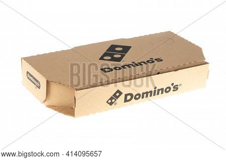 Bordeaux , Aquitaine France - 03 22 2021 : Dominos Pizza Logo Brand And Text Sign On Small Box Take