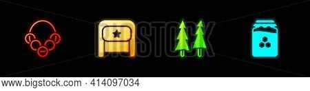 Set Russian Bagels, Ushanka, Christmas Tree And Jar Of Honey Icon. Vector
