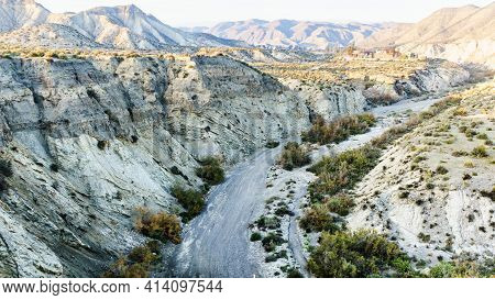 Tabernas Desert Landscape With Western Leone Village, Almeria, Spain. Movie Location Set For Spaghet