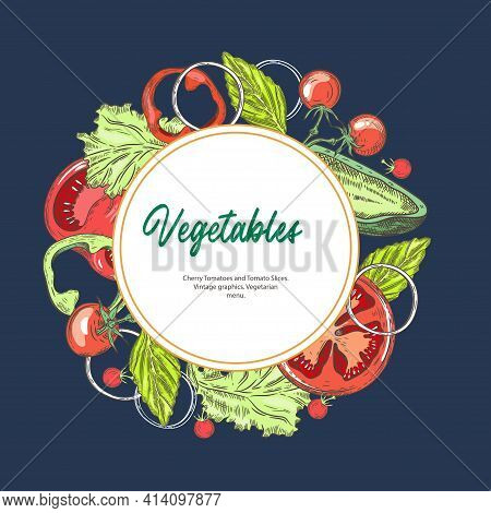 Vegetarian Food. Background With Different Vegetables. Tomatoes And Paprika. Vintage Graphics. Veget