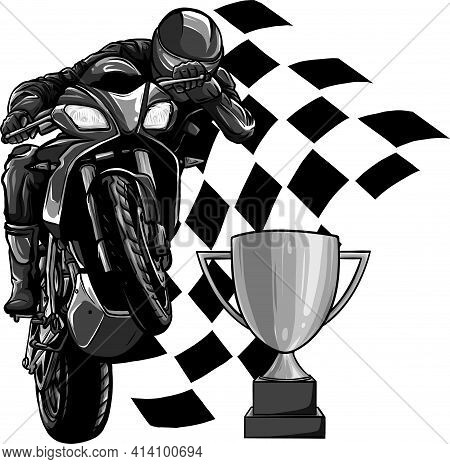 Design Of Riders On Sport Motorbike With Cup And Race Flag