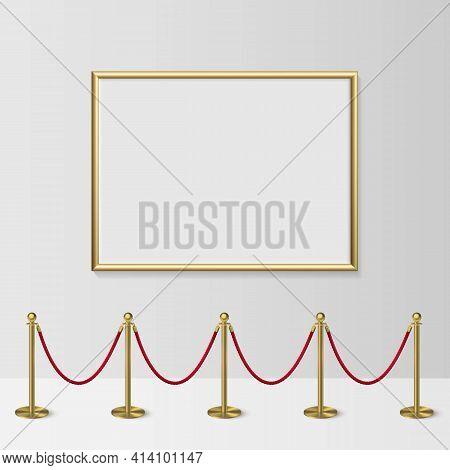 Golden Frame For Picture With Gold Stanchions Barrier. Mock Up Template For Famous Painting Vector I
