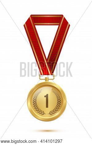 Gold Medal With Red Ribbon. Champion Golden Trophy Award With Number One And Laurel Vector Illustrat