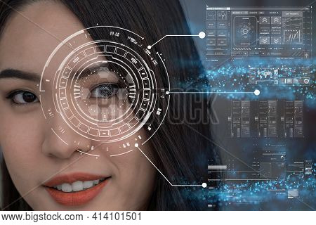 Asian Women Being Futuristic Vision, Digital Technology Screen Over The Eye Vision Background, Secur