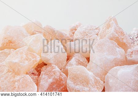 Rose Aroma Himalayan Salt Healthy Spa Cut Crystals Macro With Light Background