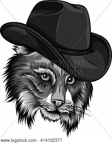 Design Of Wild Cat, Lynx, Bobcat, Trot Hand Top Hat, Cylinder.