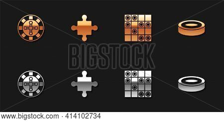 Set Casino Roulette Wheel, Puzzle Pieces Toy, Board Game Of Checkers And Checker Chips Icon. Vector