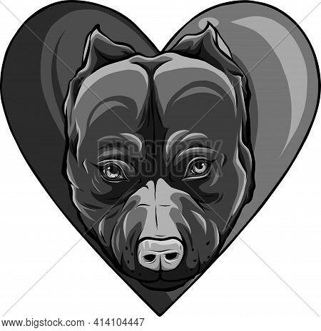 Design Of Pitbull Head Dog In Heart Vector Illustration