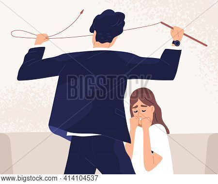 Unhappy Woman Suffer From Psychological Pressure And Bad Attitude Of Aggressive Man. Domestic Violen