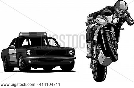 Design Of Police Car Is Chasing A Criminal On A Motorcycle.