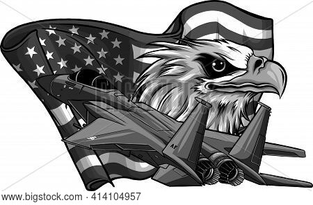 Design Of Military Fighter Jets With Eagle And American Flag