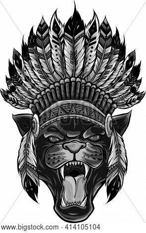 Design Of Panther With Native American Indian Chief Headdress.