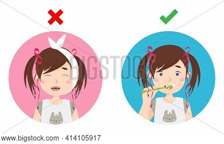 Little Girl Crying Of Toothache And Girl Brushing Teeth. Dental Care Vector Illustration.