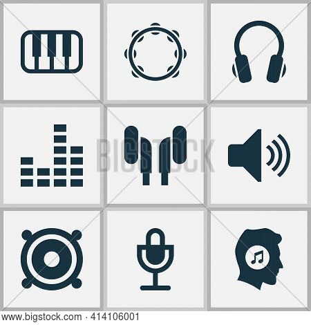 Audio Icons Set With Music Lover, Speaker, Volume And Other Megaphone Elements. Isolated Vector Illu