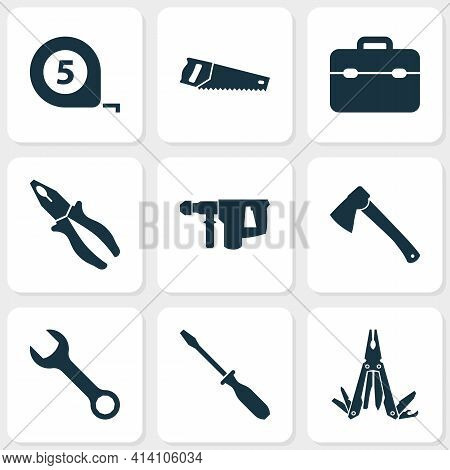 Repair Icons Set With Multi Tool, Pliers, Toolbox And Other Hammer Elements. Isolated Vector Illustr