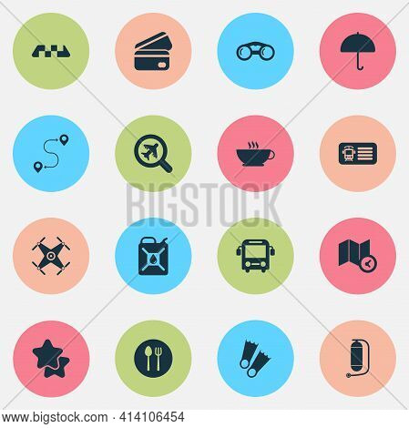 Tourism Icons Set With Binoculars, Route, Map With Time And Other Guidance Elements. Isolated Vector