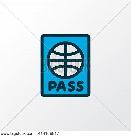 Passport Icon Colored Line Symbol. Premium Quality Isolated Citizenship Element In Trendy Style.
