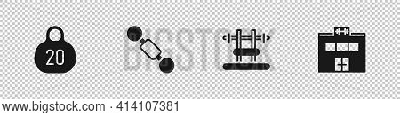Set Kettlebell, Dumbbell, Bench With Barbel And Gym Building Icon. Vector