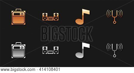 Set Guitar Amplifier, Home Stereo, Music Note, Tone And Musical Tuning Fork Icon. Vector