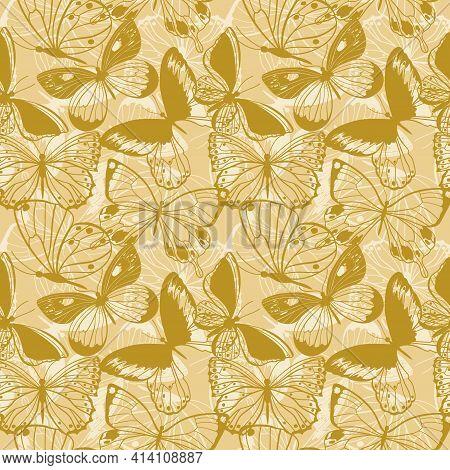 Butterflies Seamless Pattern. Arthropod Animals. Vector Illustration.