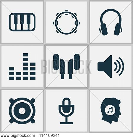 Multimedia Icons Set With Music Lover, Speaker, Volume And Other Megaphone Elements. Isolated Illust