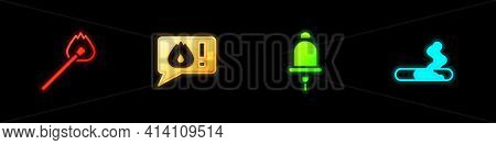 Set Burning Match With Fire, Telephone Call 911, Ringing Alarm Bell And Cigarette Icon. Vector