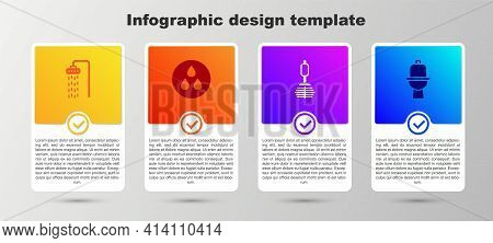 Set Shower, Water Drop, Toilet Brush And Bowl. Business Infographic Template. Vector