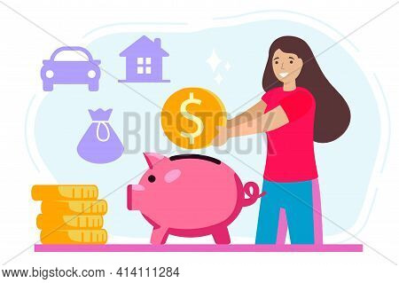 Putting Money Piggy Bank Vectors Happy Woman Putting Coin Into Piggy Bank Vector Design Illustration