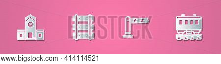 Set Paper Cut Railway Station, Railway, Railroad Track, Barrier And Passenger Train Cars Icon. Paper