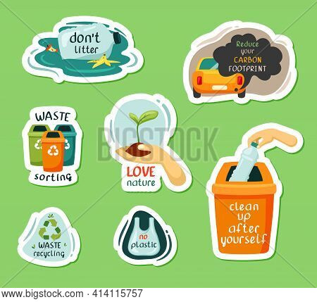 Nature Protection And Garbage Recycling Stickers Set. Sorting Waste Into Bins With Elimination Plast