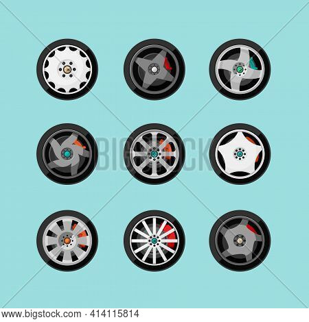 Car Rims With Geometric Tracery Set. Metallic Creative Elements Racing And City Transport Ribbed Sta