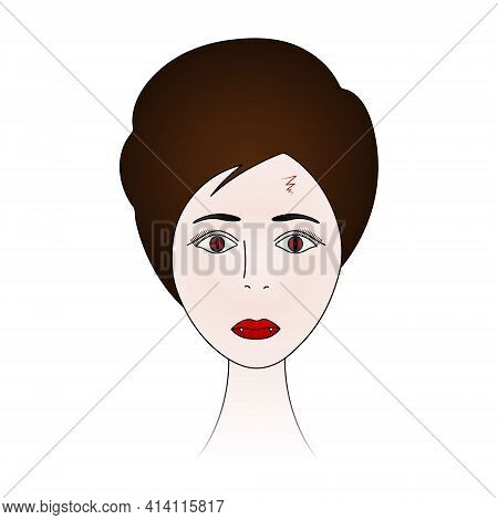 Vampire Woman Face. Scratch On The Forehead. Ladys Head. Pale Skin. Colored Vector Illustration. Sho