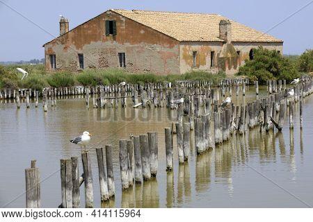 Po River (fe),  Italy - April 30, 2017: A Fishing Preserve Near An Old Fisherman\\\'s House On Po Ri