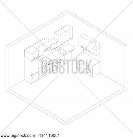 Contour Of The Kitchen With Cooking Utensils. Kitchen Interier. Isometric View. Vector Illustration
