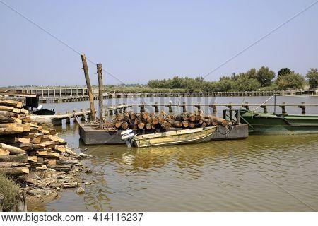 Po River (fe),  Italy - April 30, 2017: Fisherman\'s Boat On Po River, Delta Regional Park, Emilia R
