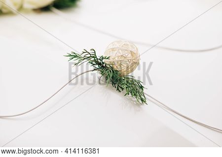 Decoration Wedding Car With Flowers And Satin Ribbons. Wedding Decor. The Design Of The Wedding Deco