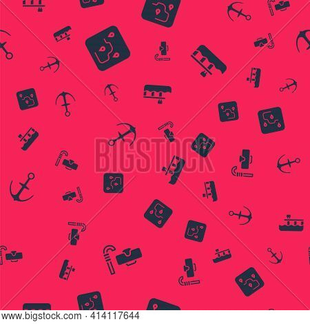 Set Diving Mask And Snorkel, Route Location, Anchor And Beach Pier Dock On Seamless Pattern. Vector
