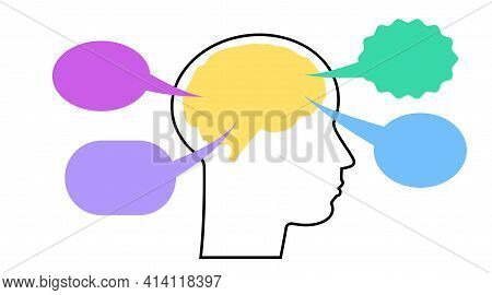 Vector Line Silhouette Of Human Face, Brain In Profile. Emotional Intelligence. Speech Bubbles Color