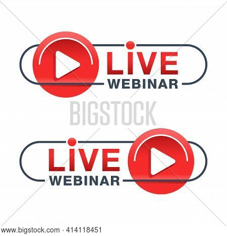 Live Webinar Red Rounded Flat And Thin Line Button Or Banner Element - Catchy Dialog Message Box Wit