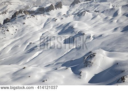 Snowy slope in the Pyrenees, Ossau Valley in France.