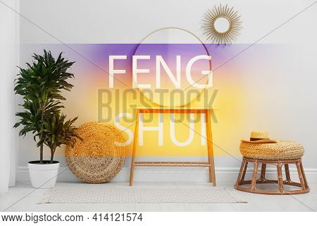 Stylish Round Mirror Near White Wall In Room. Feng Shui Philosophy